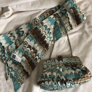 Vintage GAP silk blend mini kisslock clutch & sash